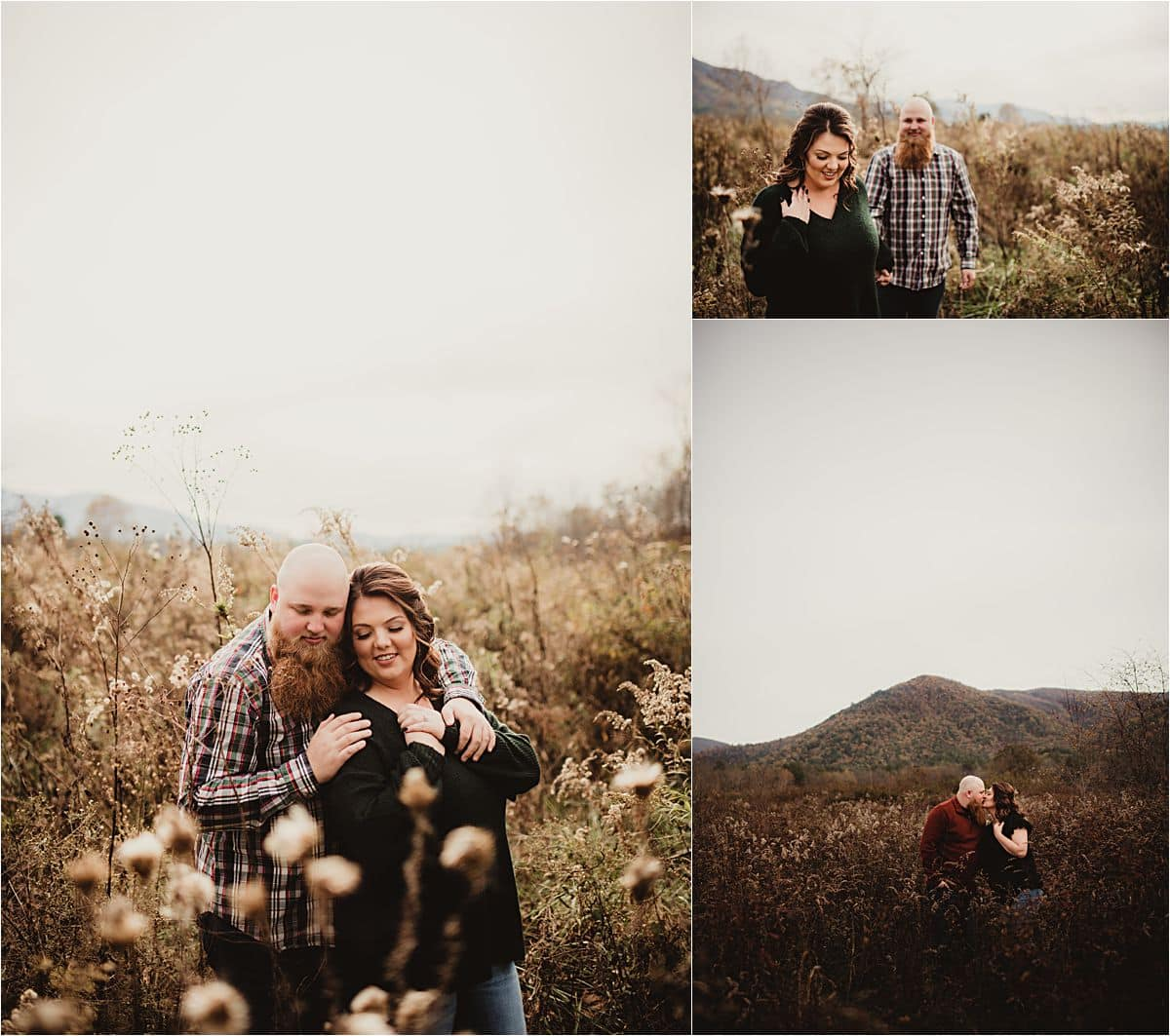 Fall Stylized Engagement Session Couple Snuggling in Field