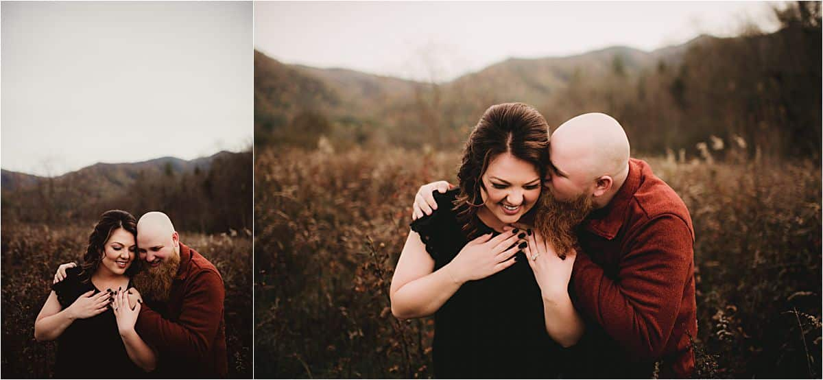 Fall Stylized Engagement Session Couple Snuggling