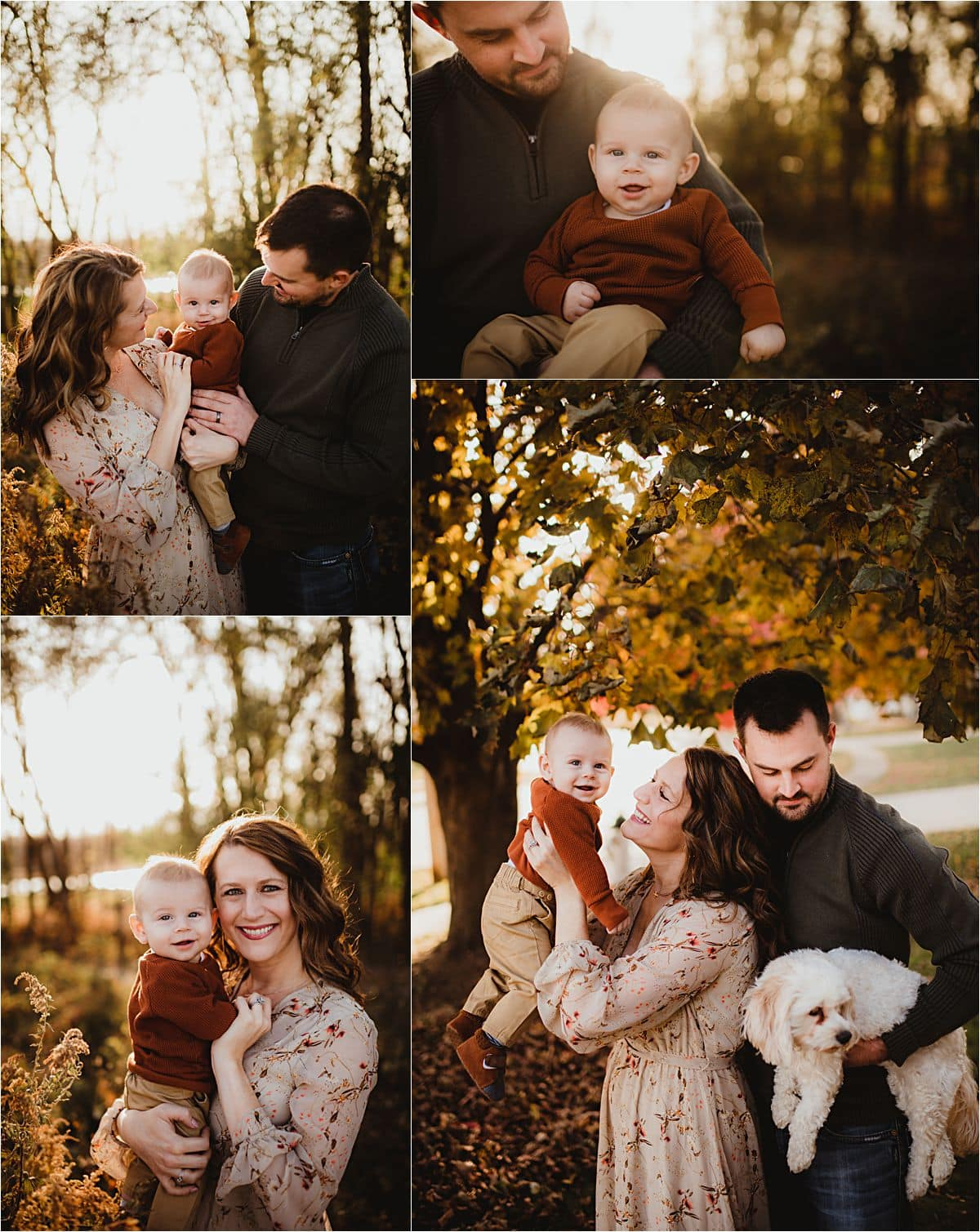 Late Fall Sunset Family Session Collage Family with Baby