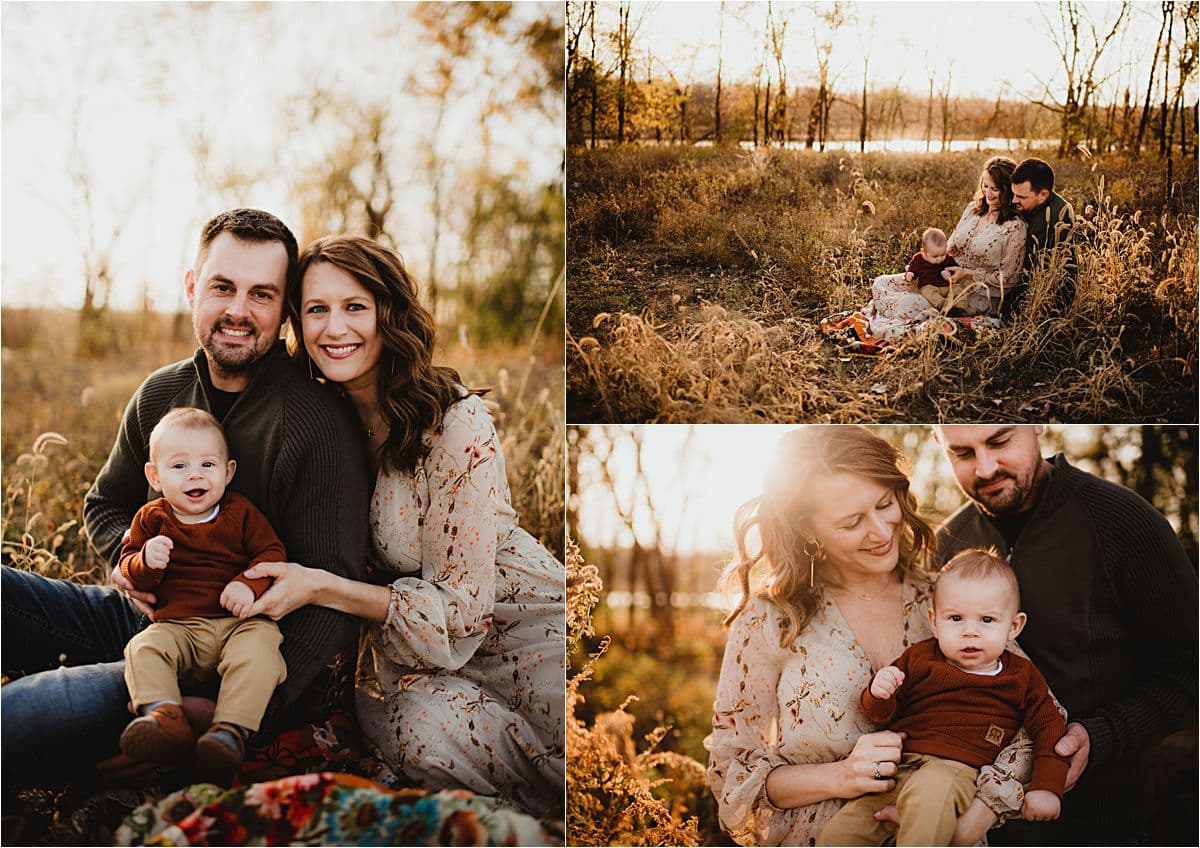 Late Fall Sunset Family Session Snuggling at Sunset