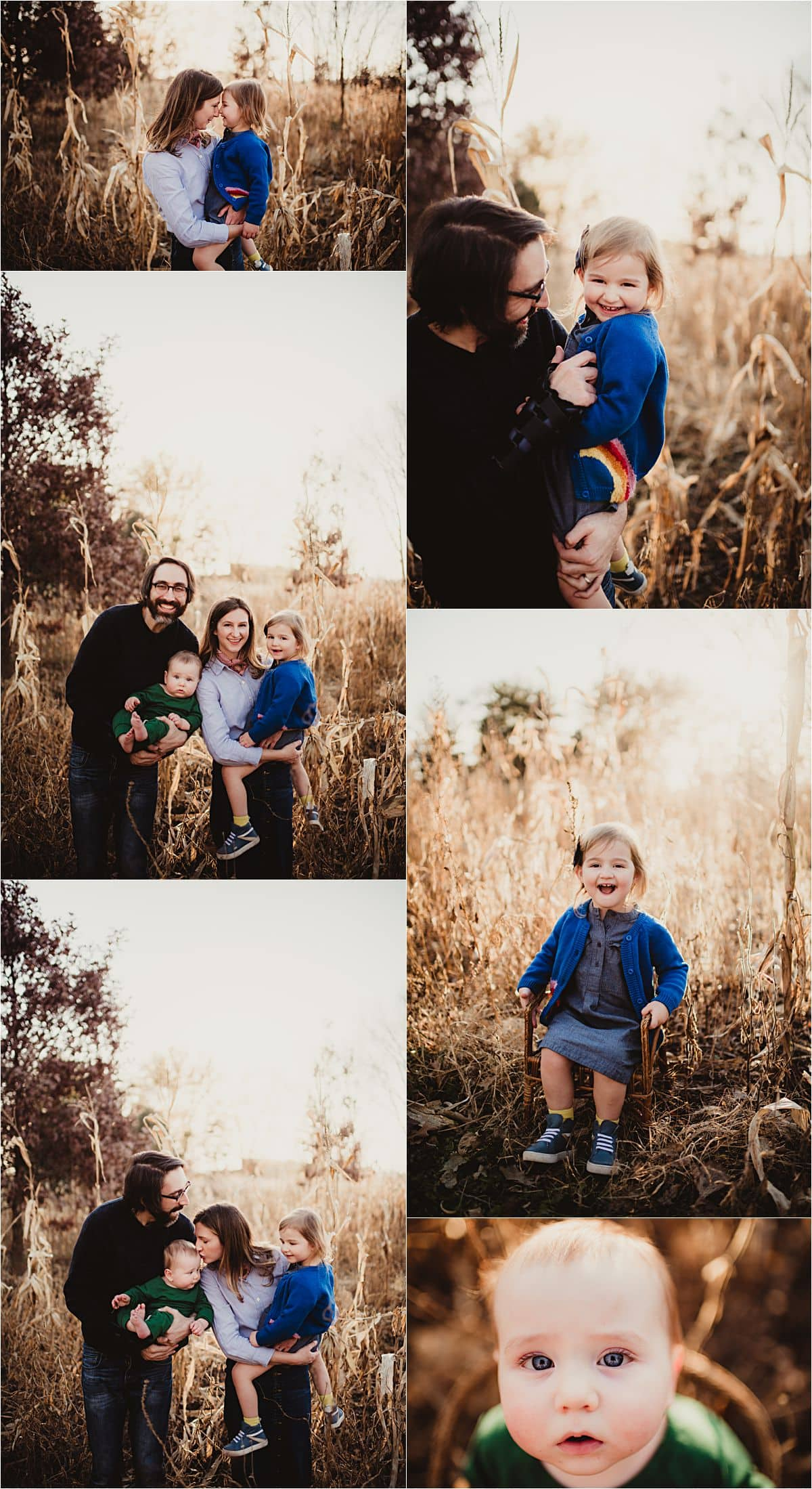 Late Fall Family Session Collage in Field
