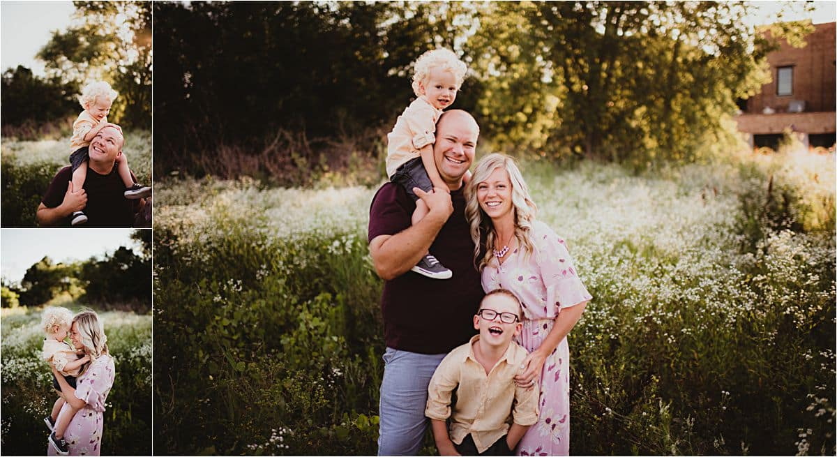Sunset Wildflower Family Session Family Snuggling Smiling