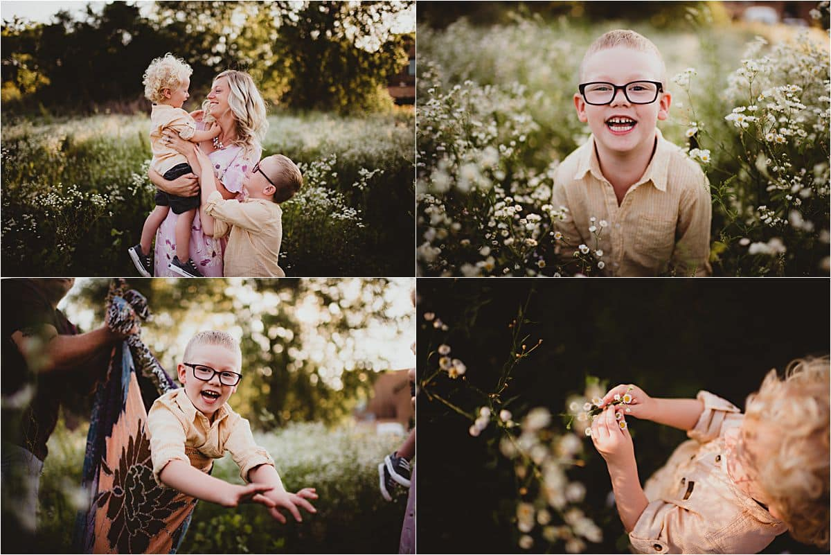 Sunset Wildflower Family Session Collage Kids