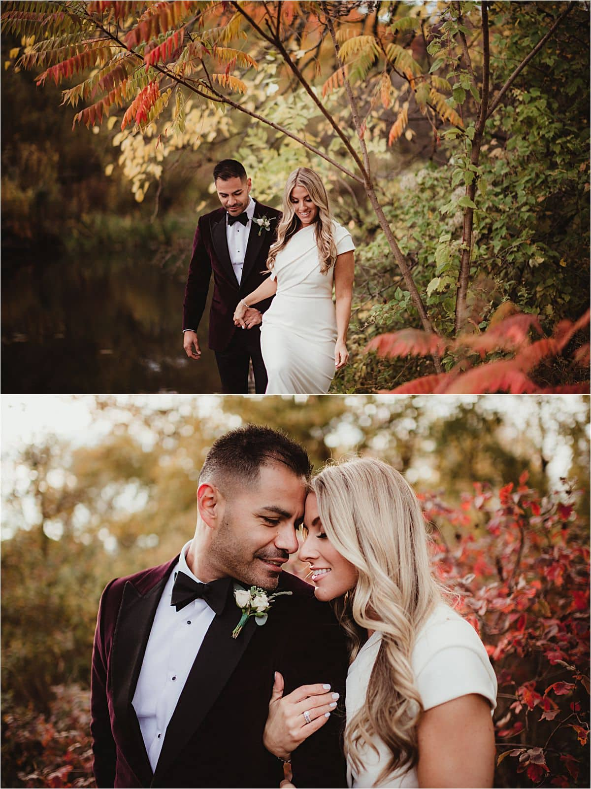 Late Autumn Church Wedding Couple Walking in Fall Leaves