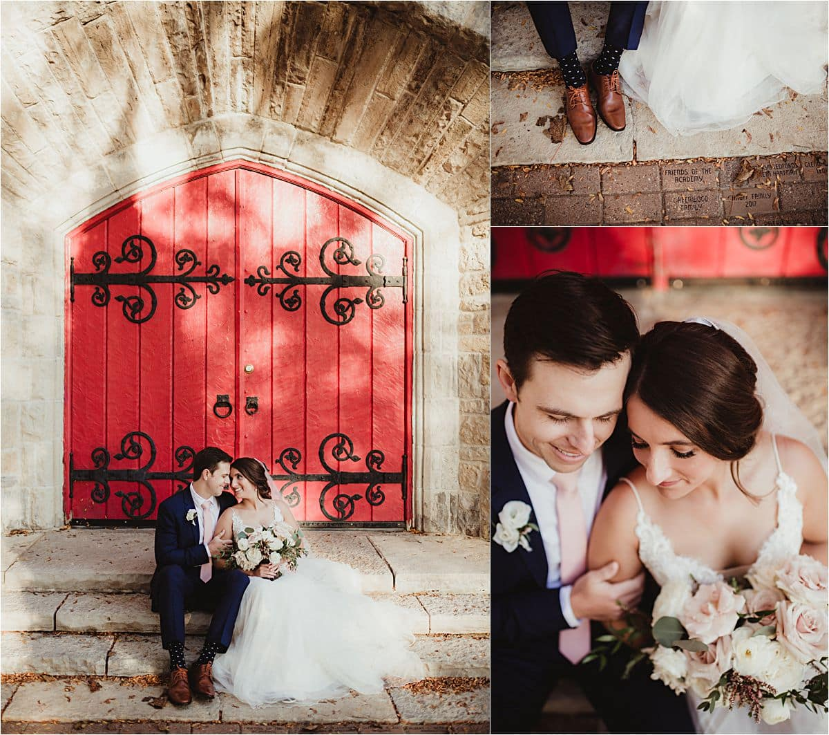 Bride and Groom on Church Steps