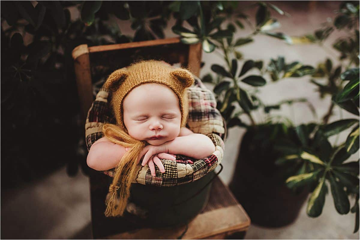Newborn Bear Hat on Chair