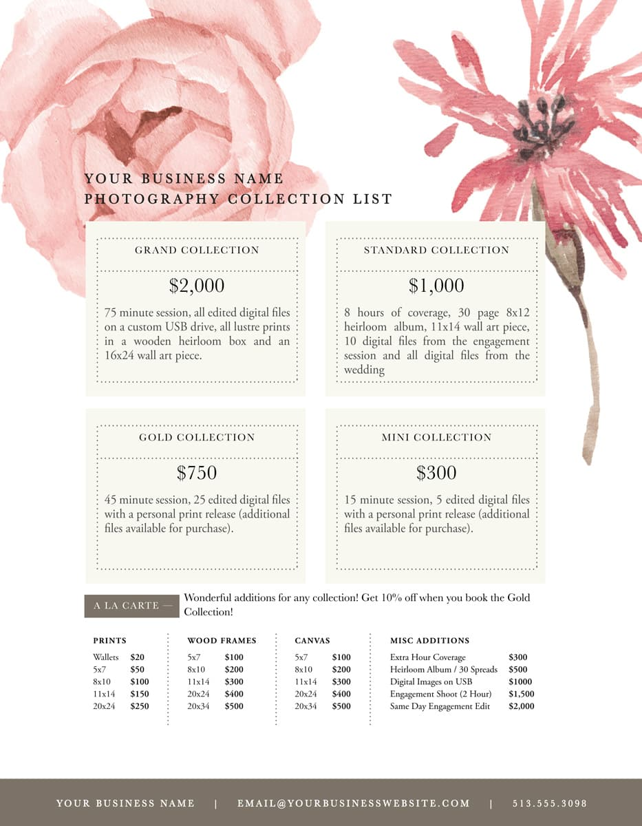 photography price lists