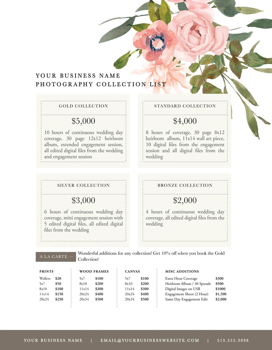 price lists for photographers