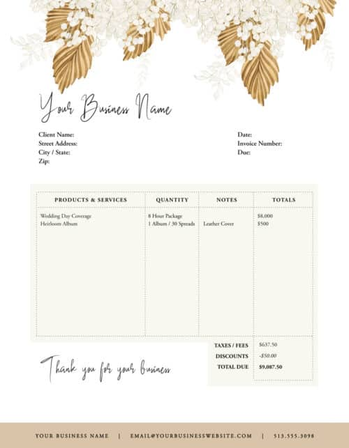 photography order forms
