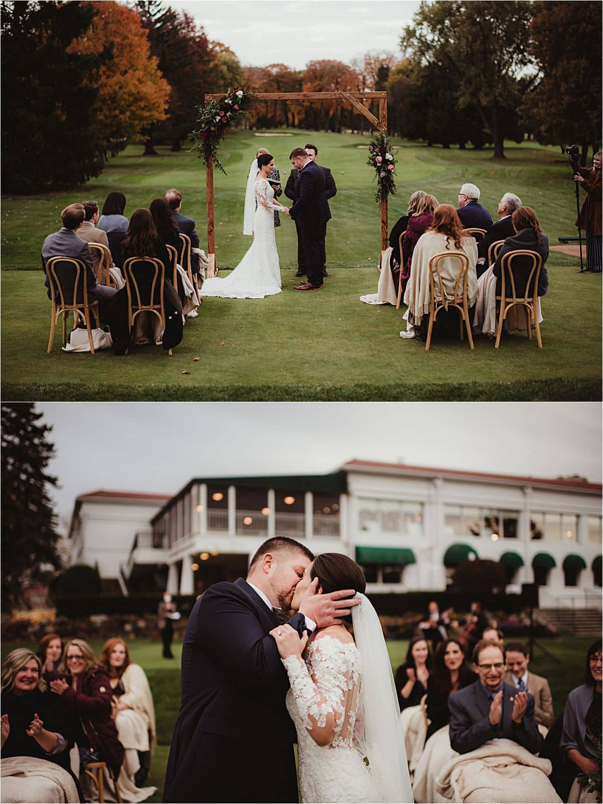 Intimate Fall Wedding Outdoor Ceremony