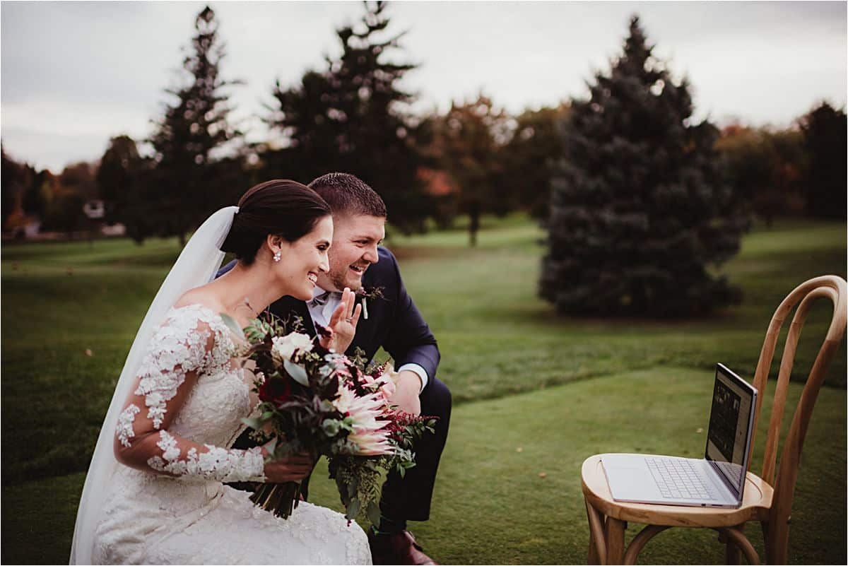 Intimate Fall Wedding Couple Smiling