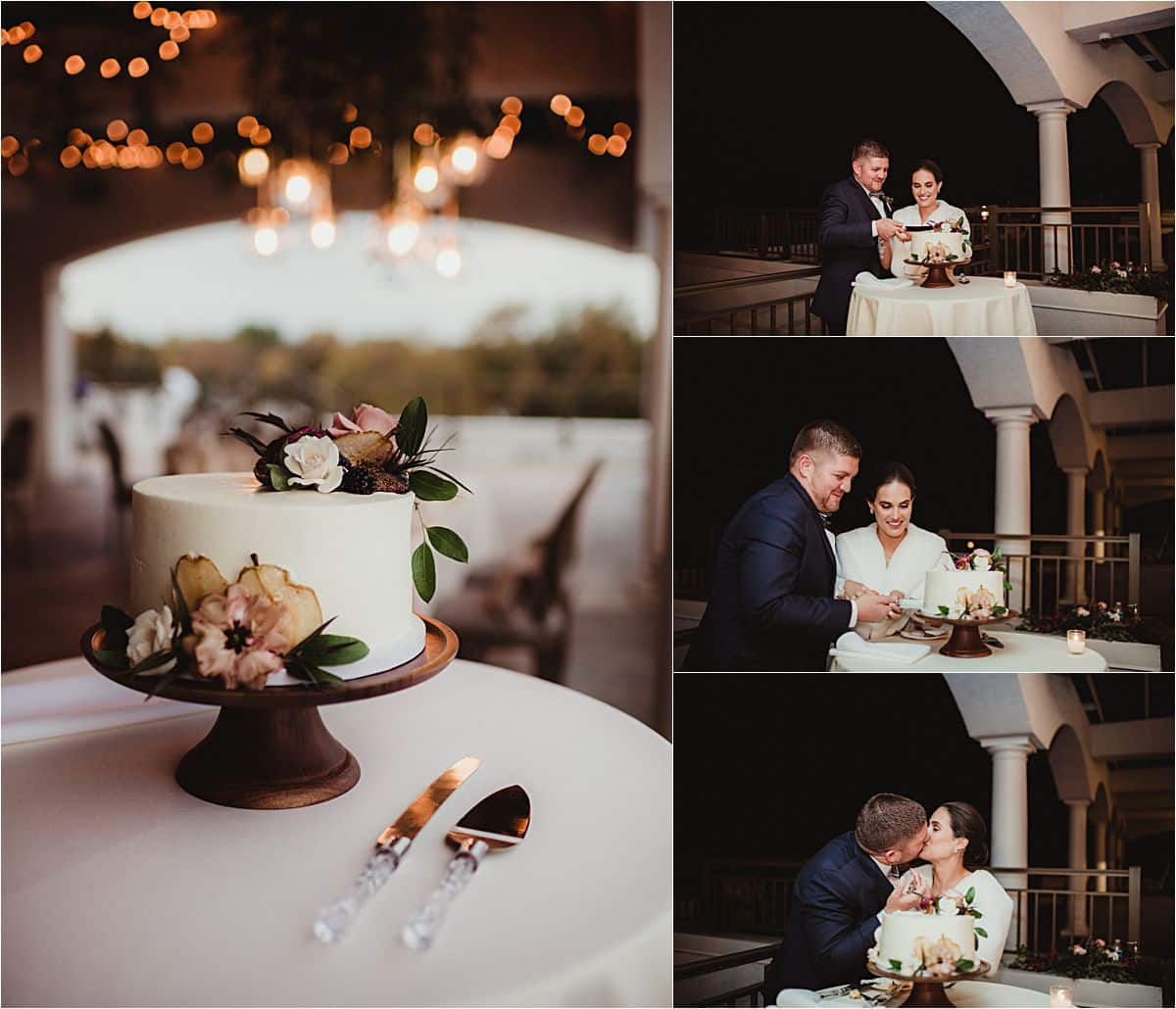 Intimate Fall Wedding Cake Cutting