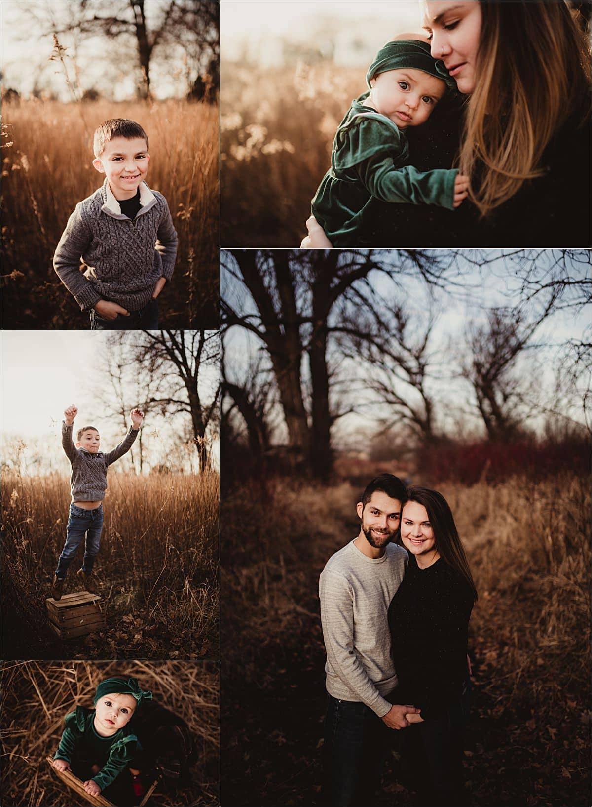 Winter Family Session Collage of Family