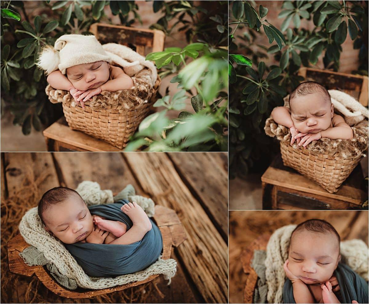 Winter Studio Newborn Session Collage Newborn Boy