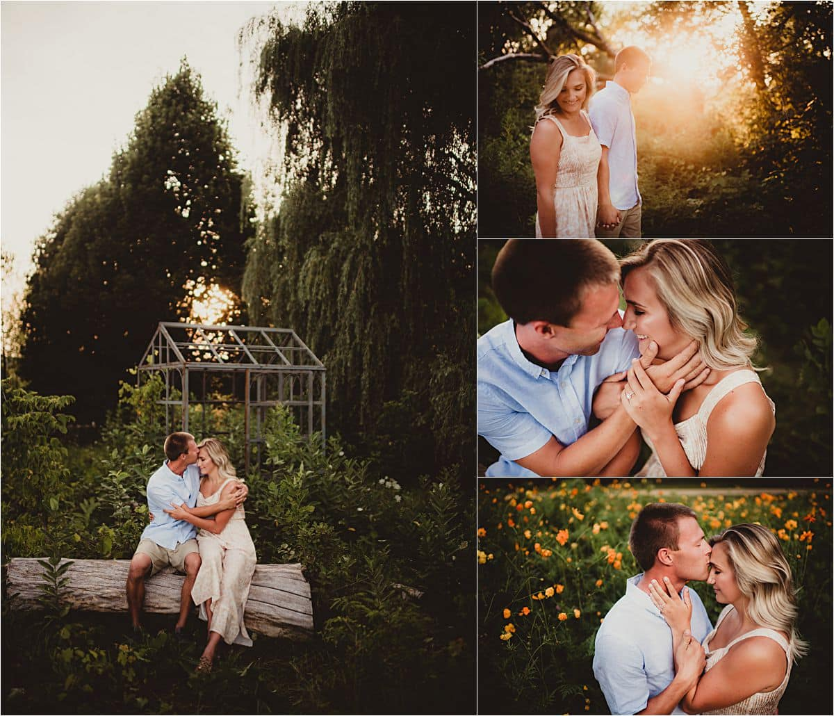 Dreamy Summer Engagement Session Collage Couple Snuggling