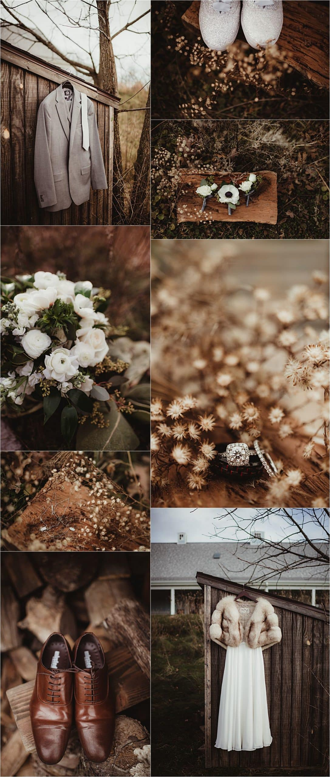 Rustic Winter Micro Wedding Getting Ready Details