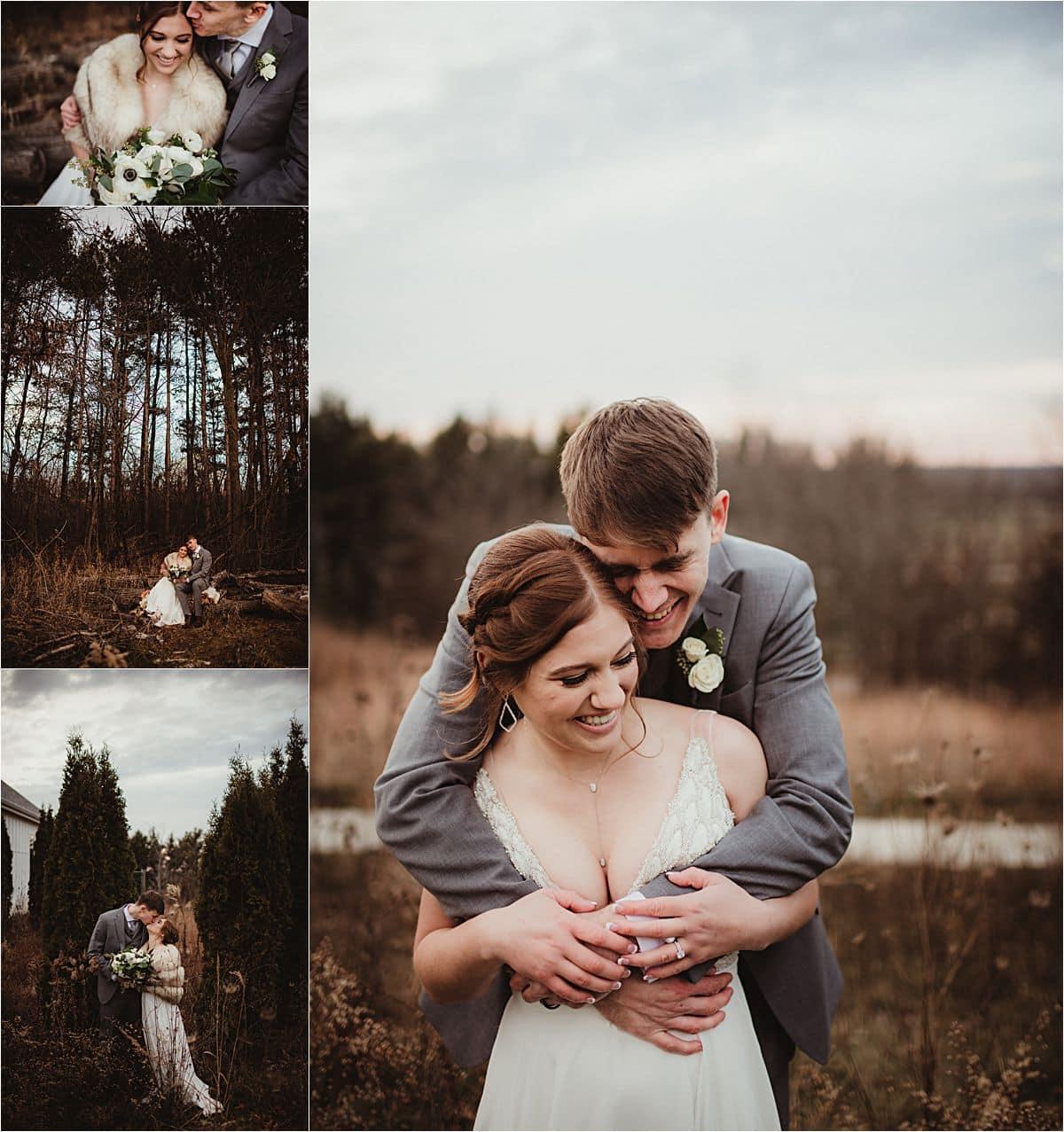 Rustic Winter Micro Wedding Collage Bride Groom
