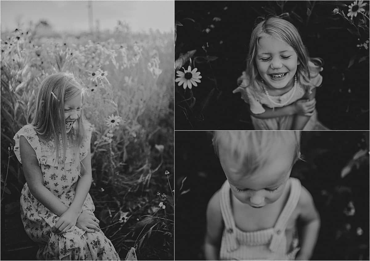 Summer Sunset Wildflower Session Black and White Portraits Kids