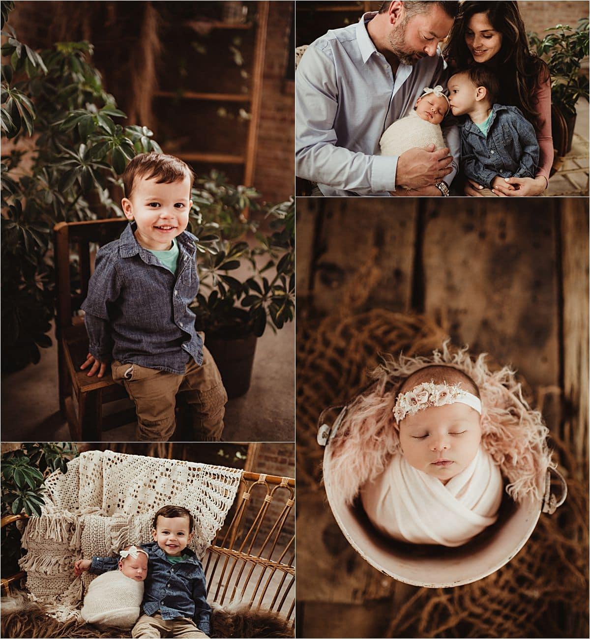 Newborn Girl Studio Session Collage with Family