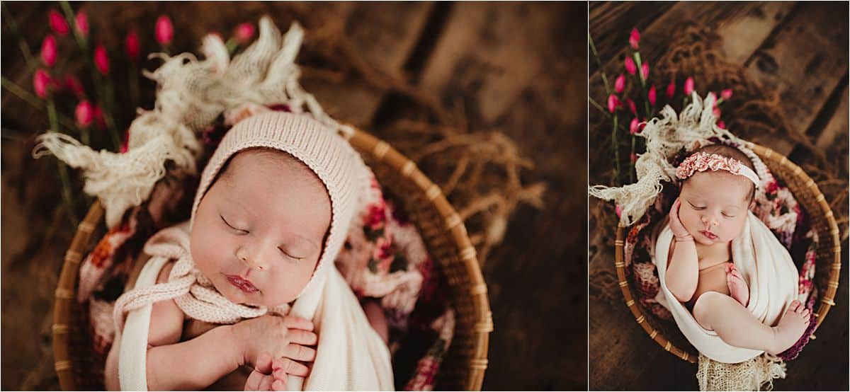 Newborn Girl Studio Session Baby with Pink Flowers