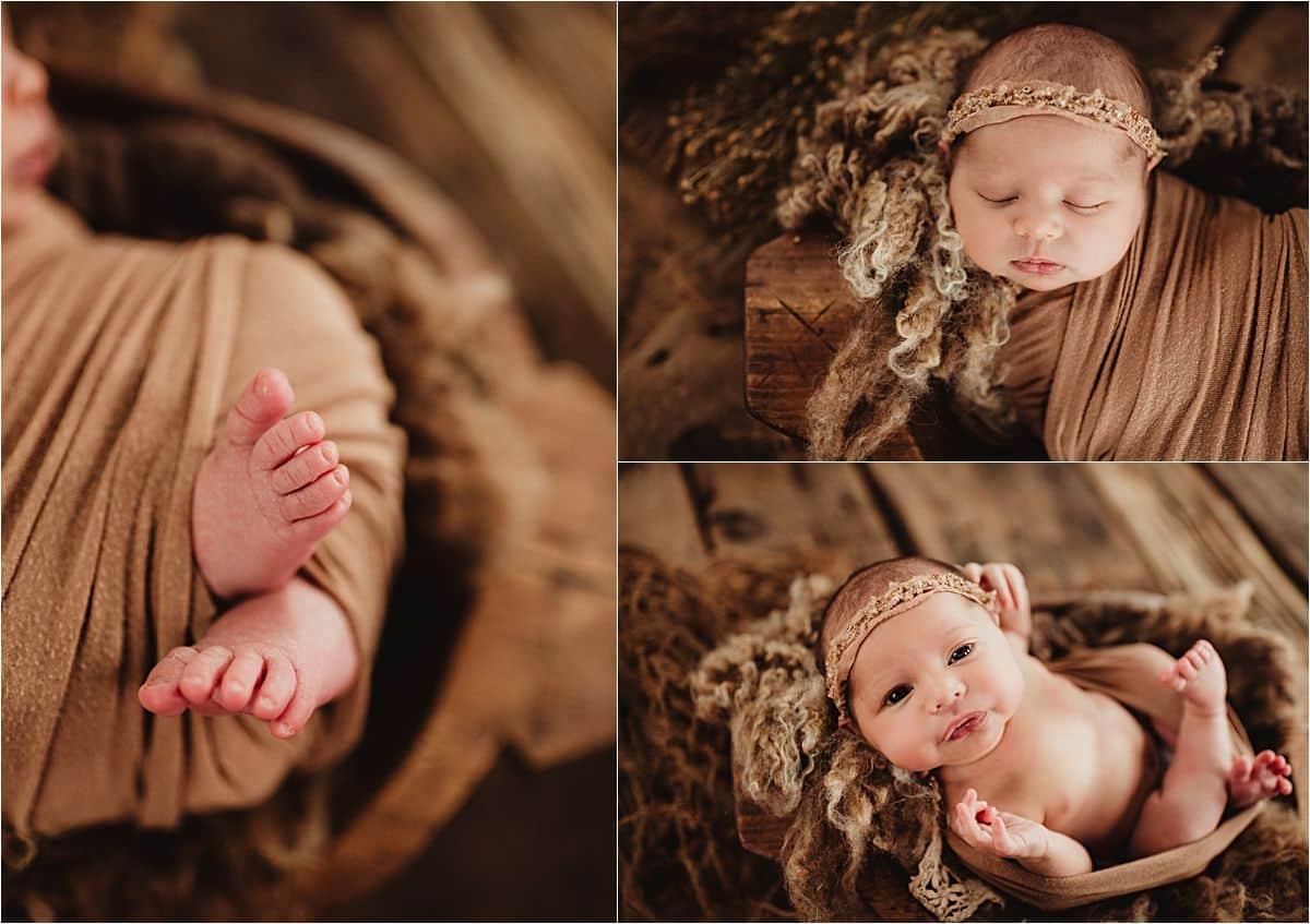 Newborn Girl Studio Session Collage of Details