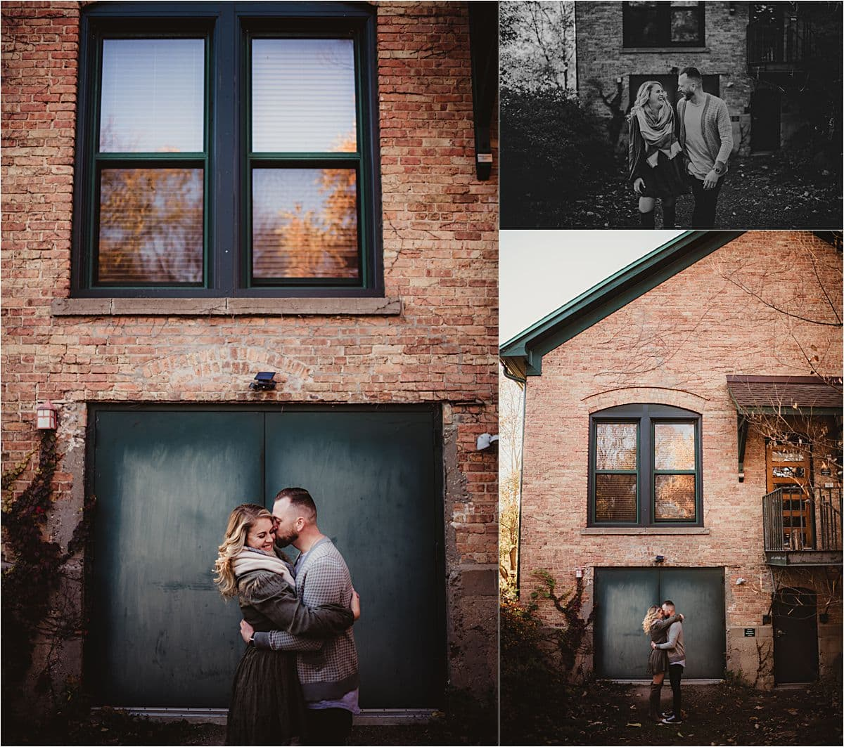 Fall Neutrals Engagement Session Couple Snuggling