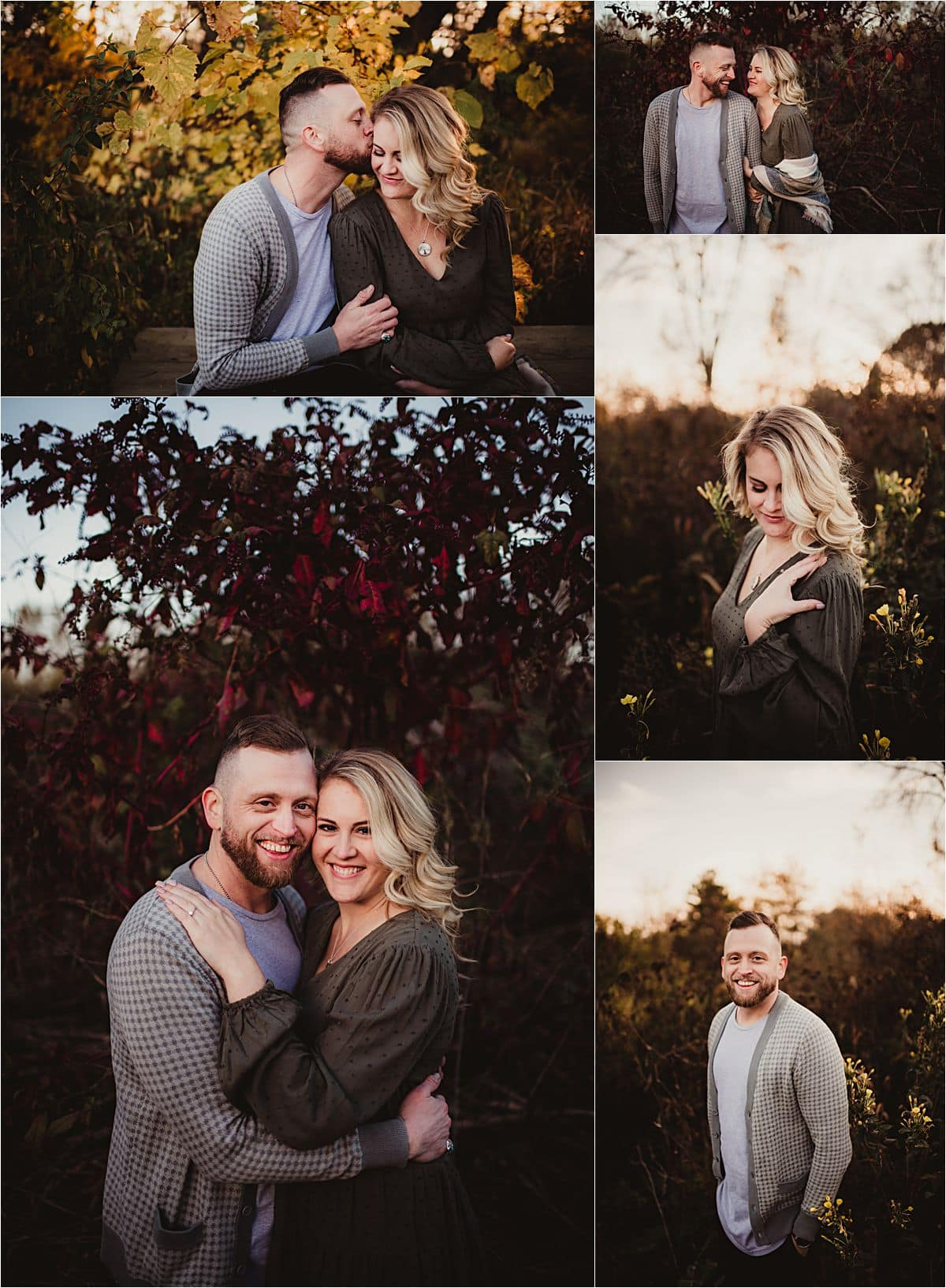 Fall Neutrals Engagement Session Collage Couple in Field