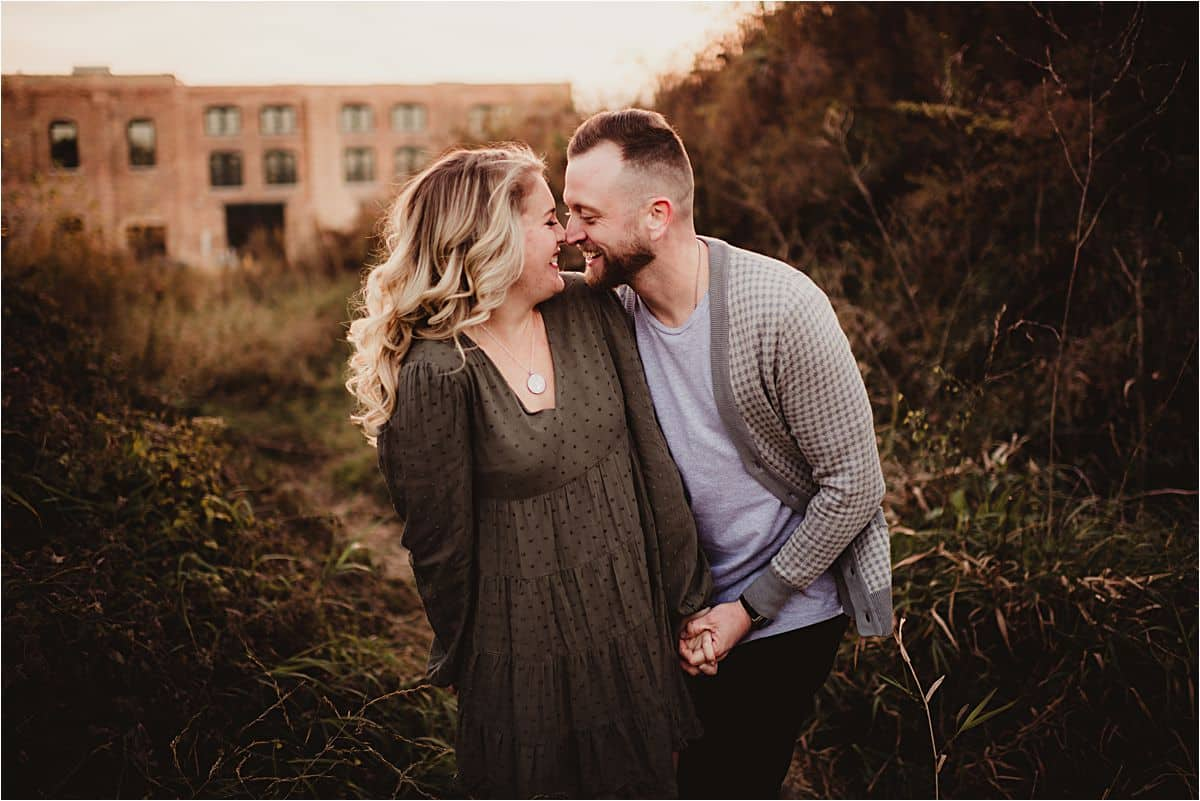 Fall Neutrals Engagement Session Couple Touching Noses