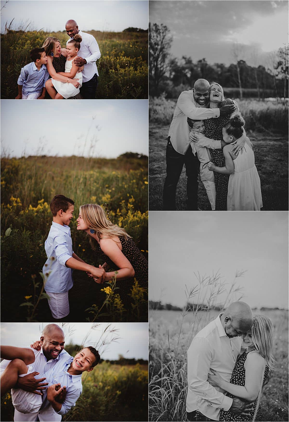 Summer Wildflower Family Session Collage Family in Field