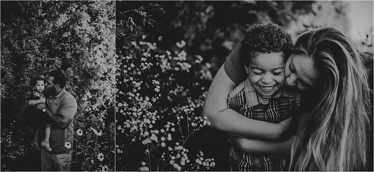 Wildflower Family Maternity Session Parents Hugging Kids