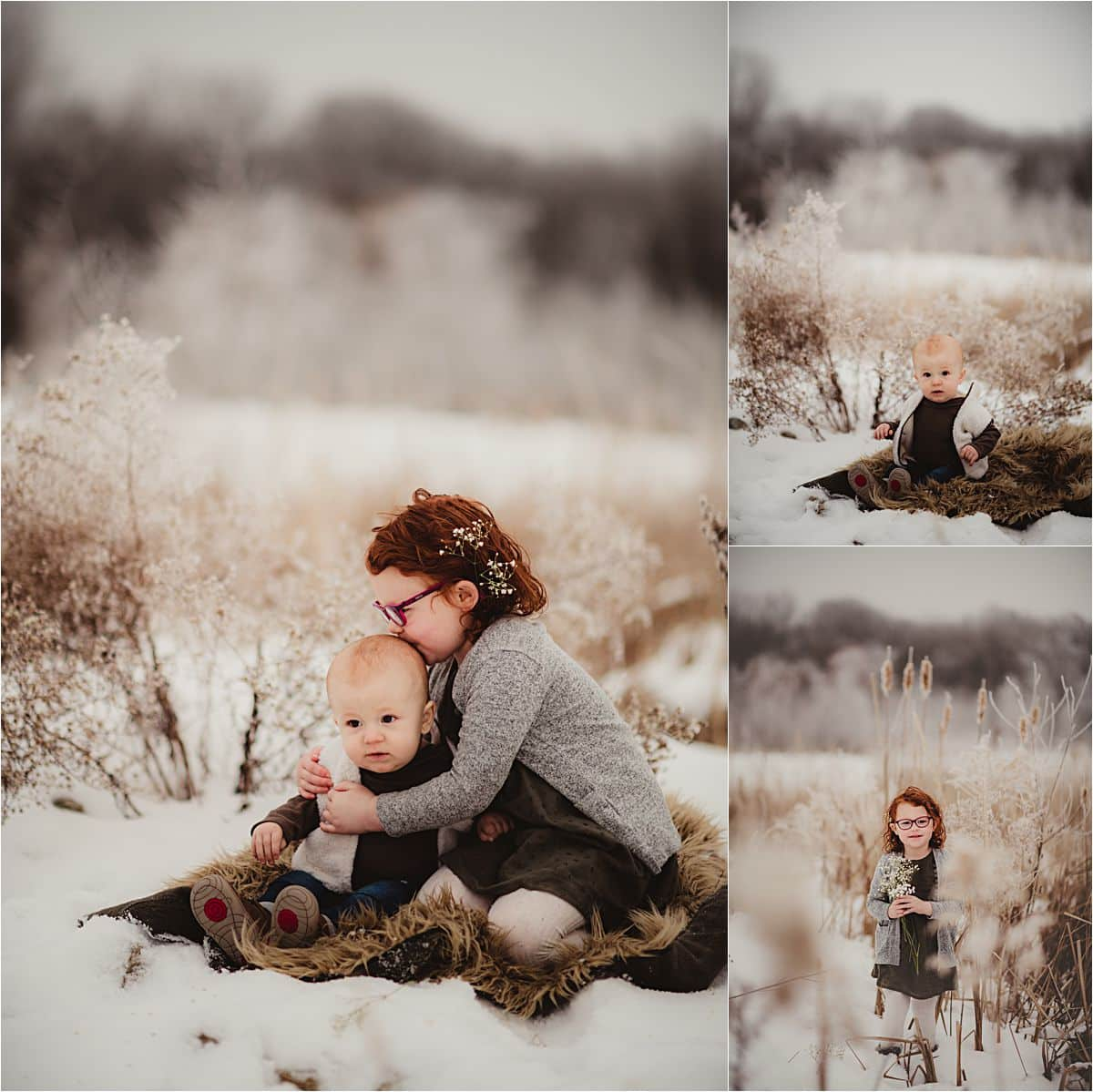 Snowy Winter Sibling Session Collage Brother Sister