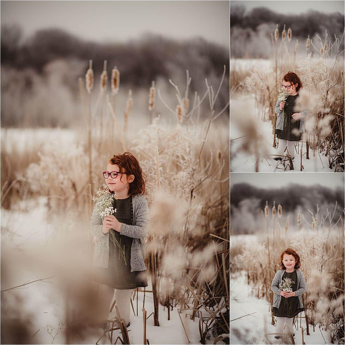 Little Girl Snow Field