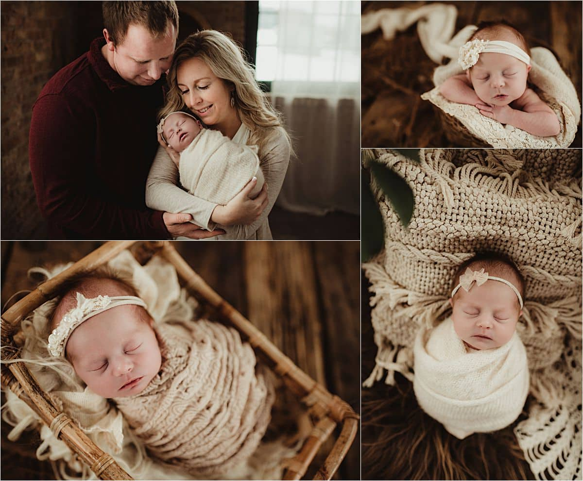 Newborn Winter Studio Session Collage