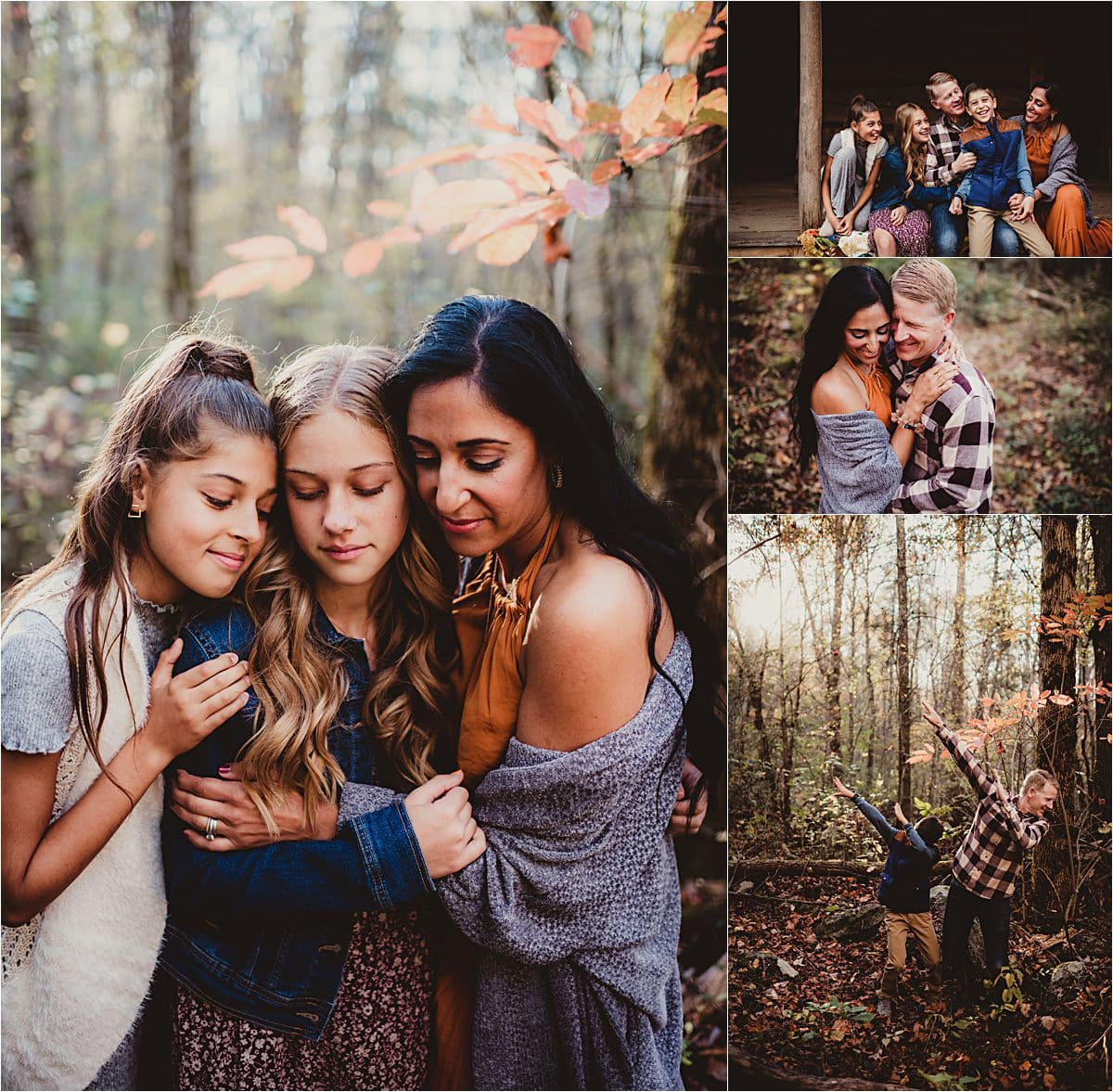 Collage Family in Forest