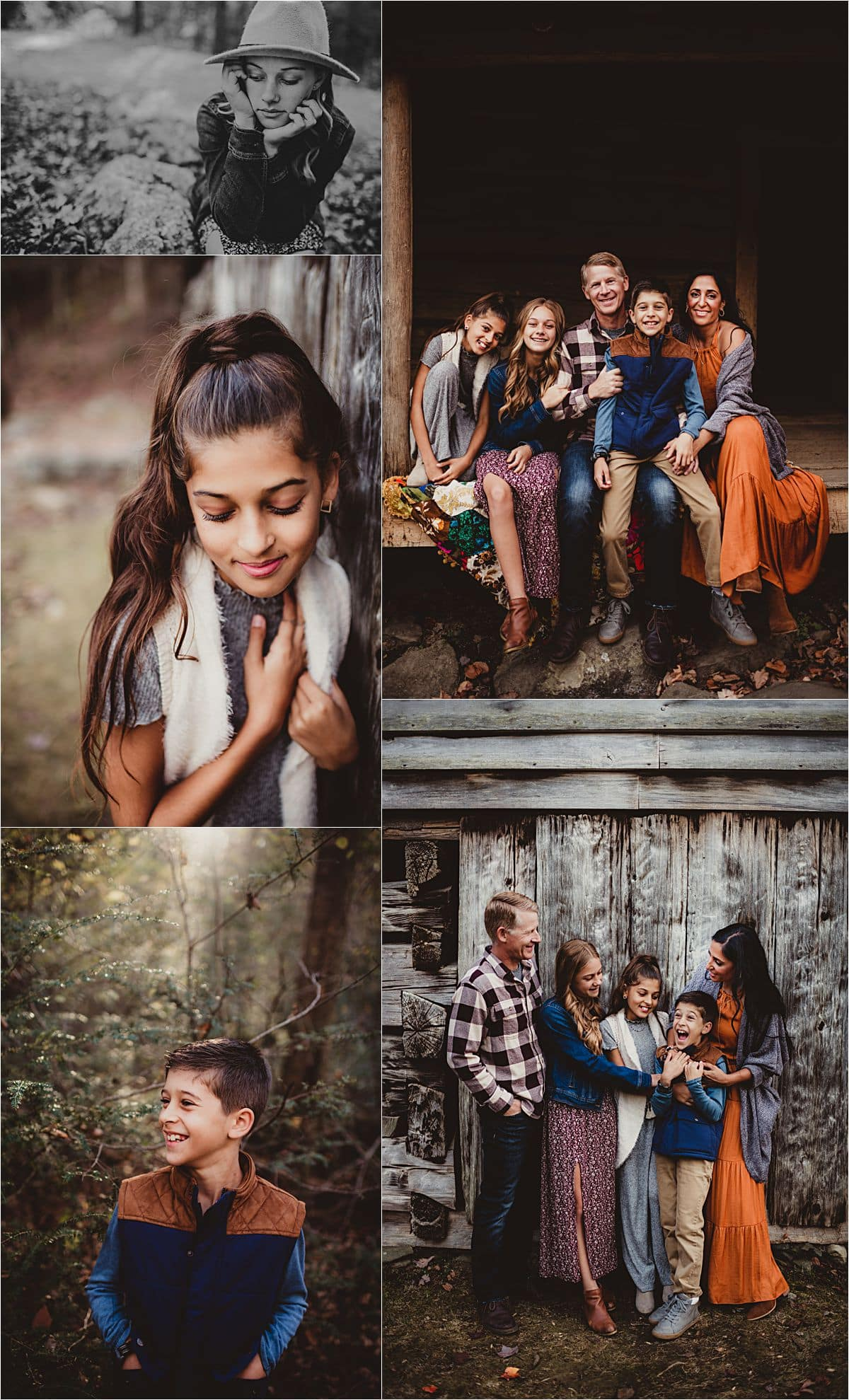 Mountain Forest Family Session Collage of Family