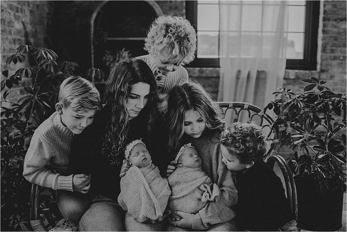Twins Newborn Studio Session Family Photo with Newborns