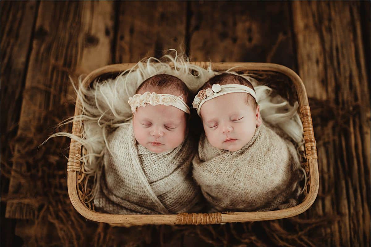 Twin Newborn Girls in Basket