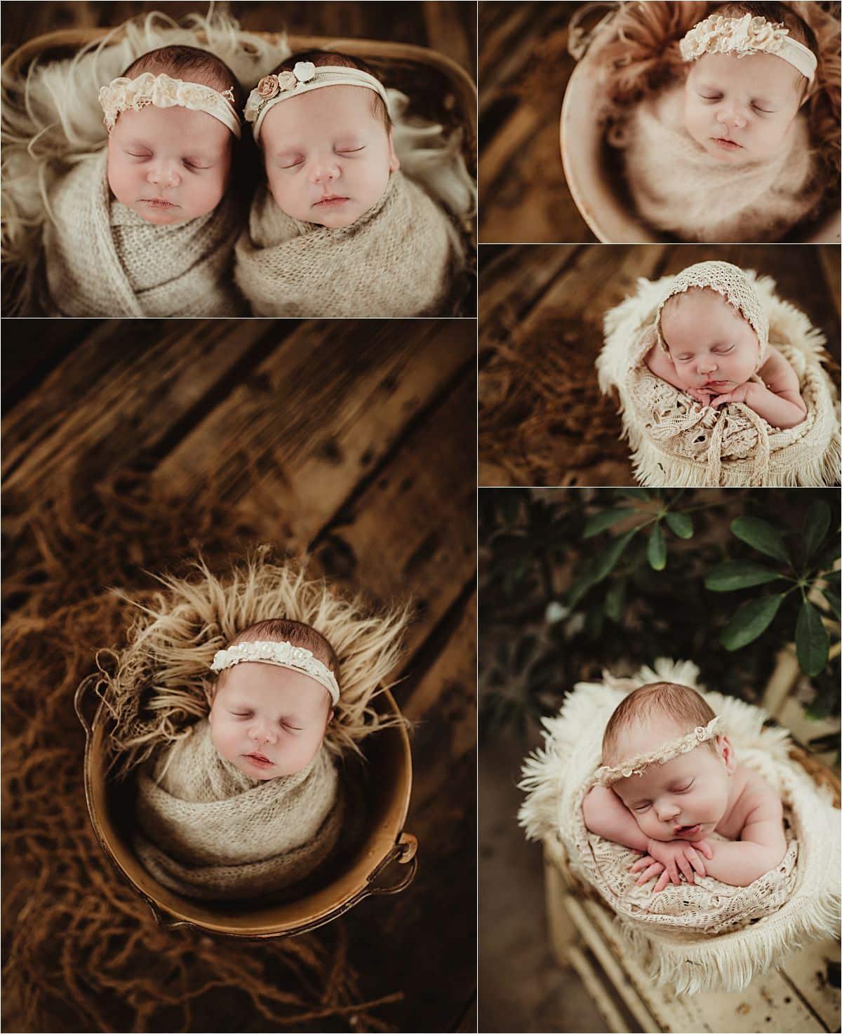 Twins Newborn Studio Session Collage Newborn Girls