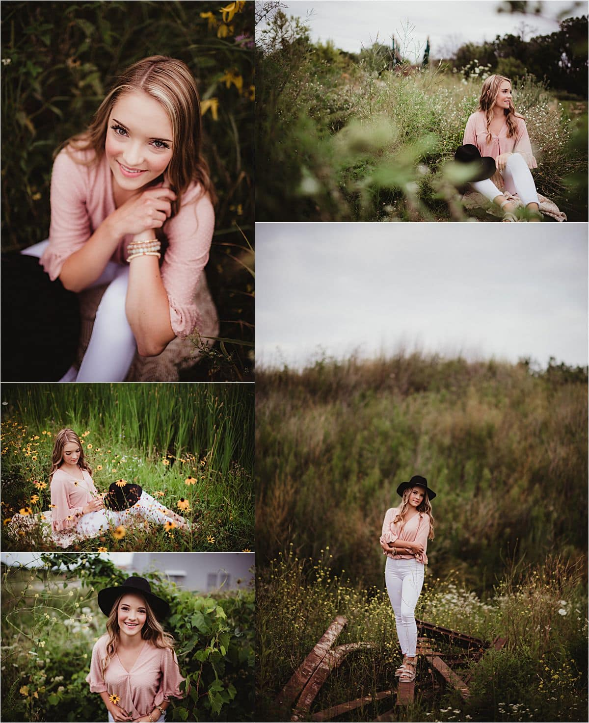 Wildflower Senior Girl Session Collage in Field