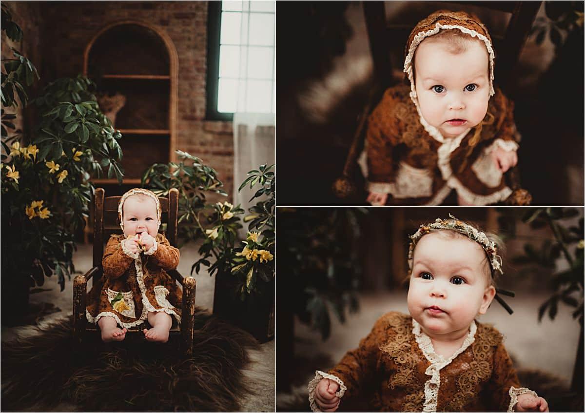 Baby Girl Milestone Session Baby Girl in Bonnet