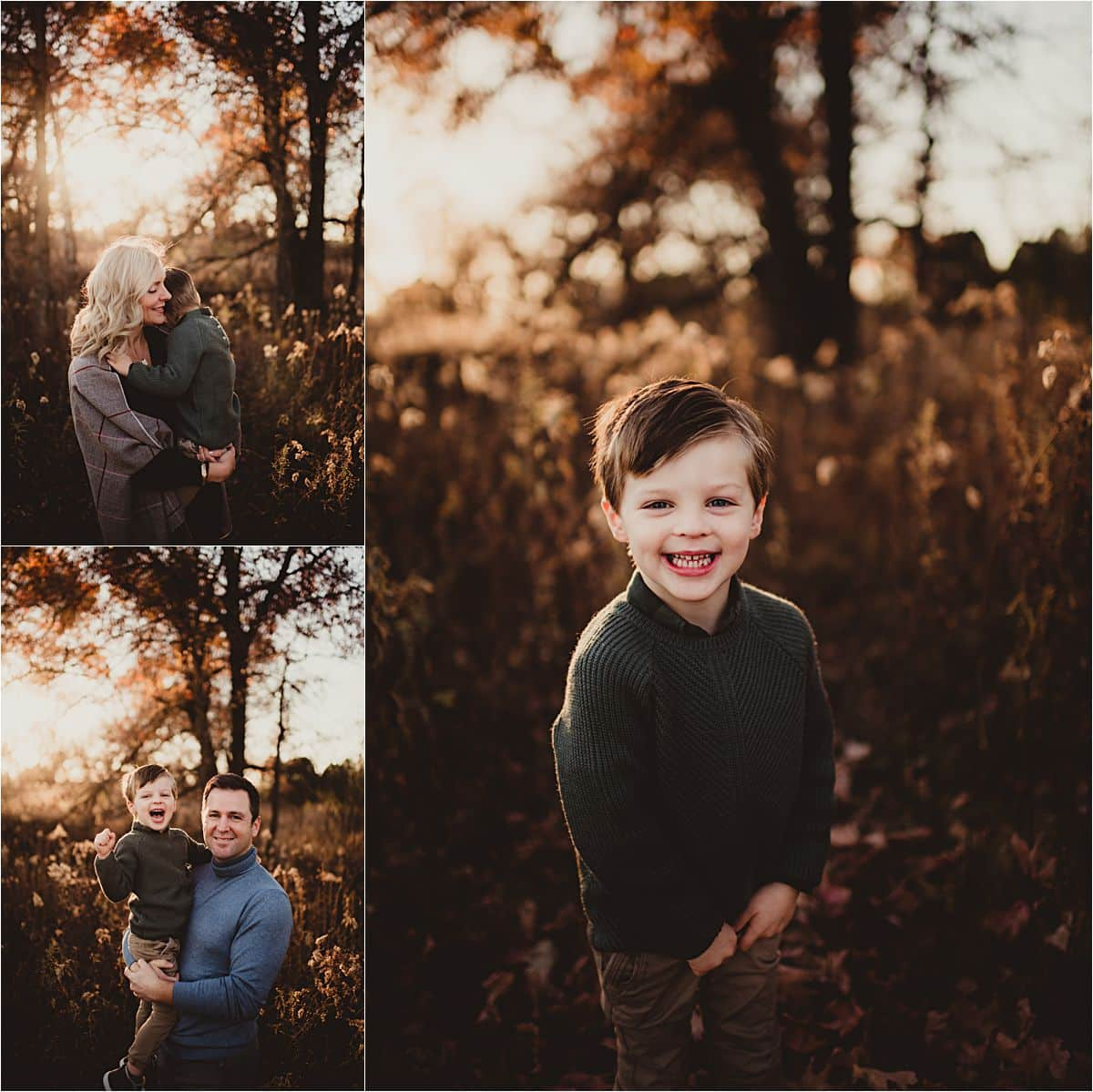 Neutral Colors Fall Session Little Boy with Parents