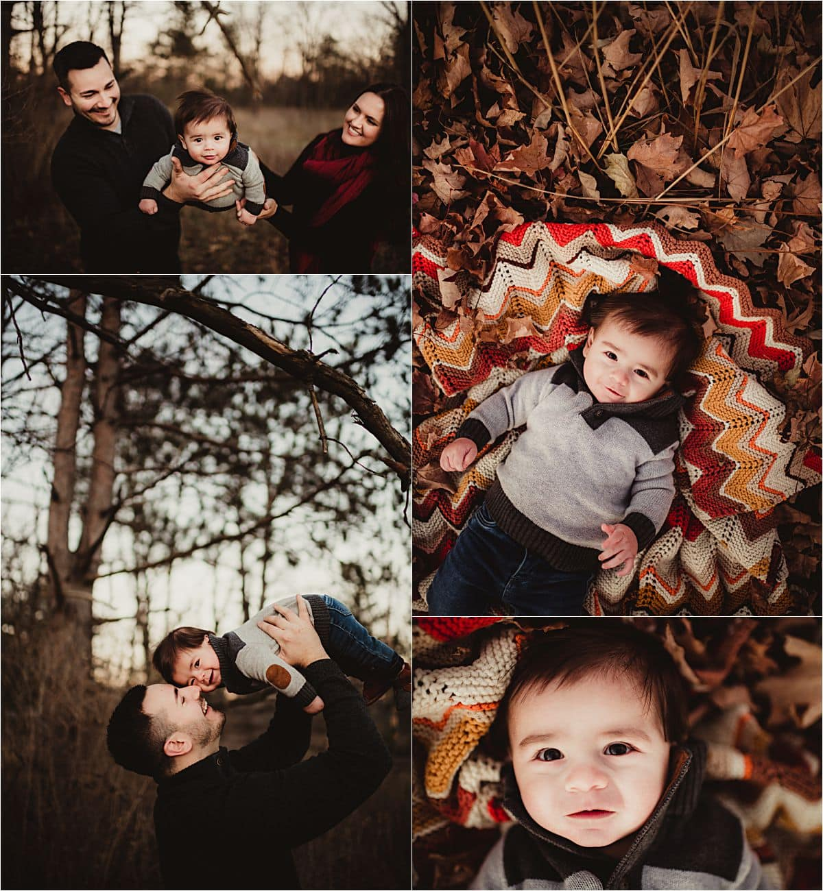 Fall Golden Hour Session Collage of Family
