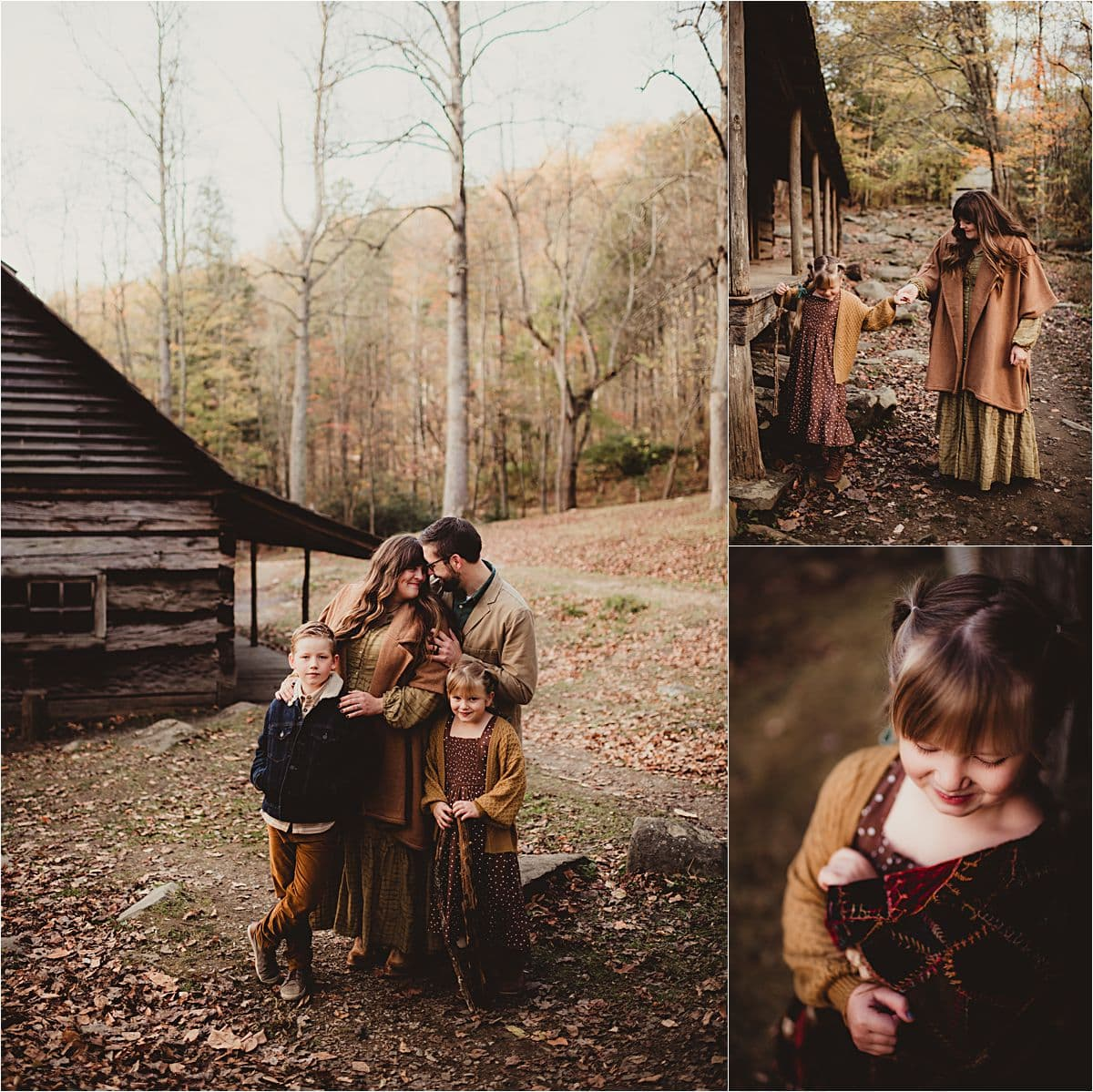 Wooded Valley Family Session Family by Cabin