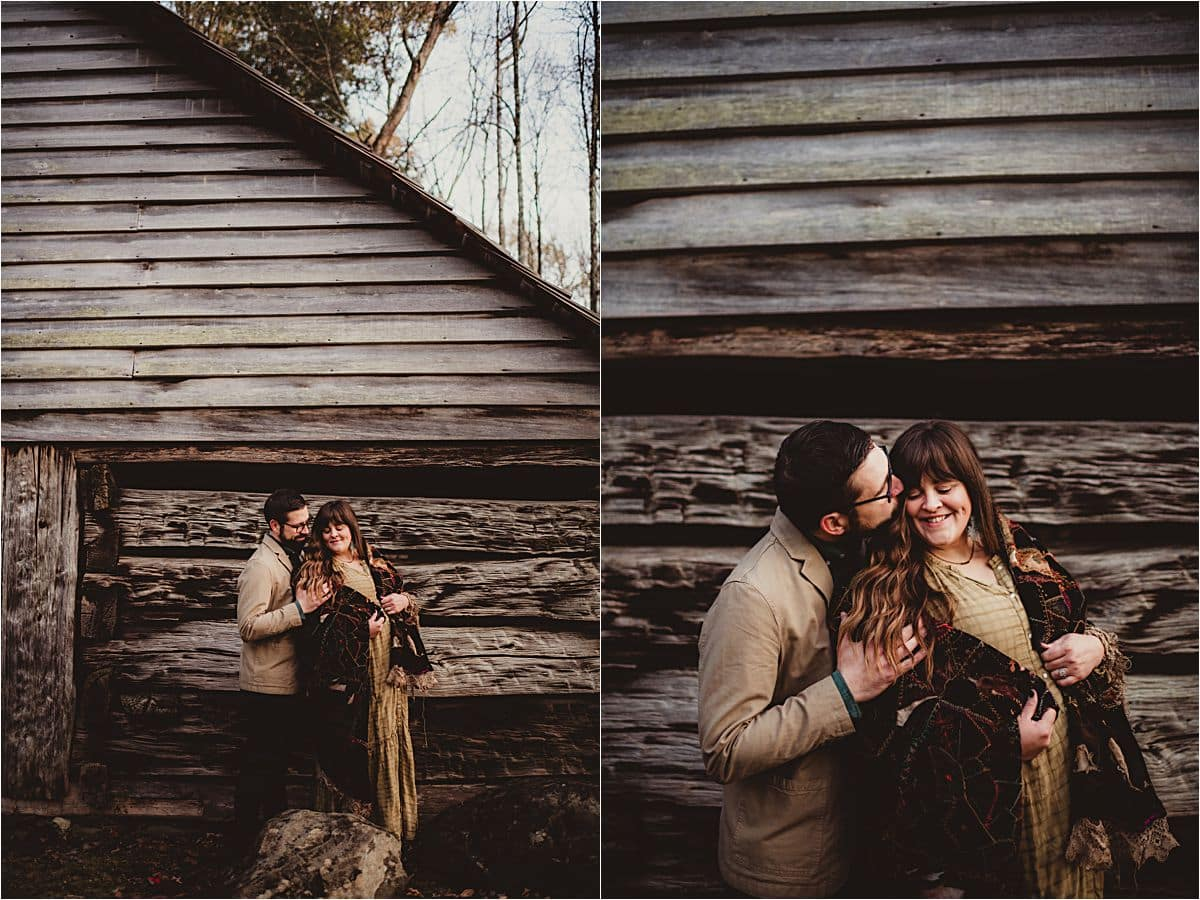 Wooded Valley Family Session Maternity Couple Snuggling