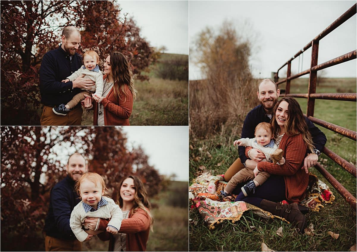 18 Month Milestone Session Family Snuggling in Field
