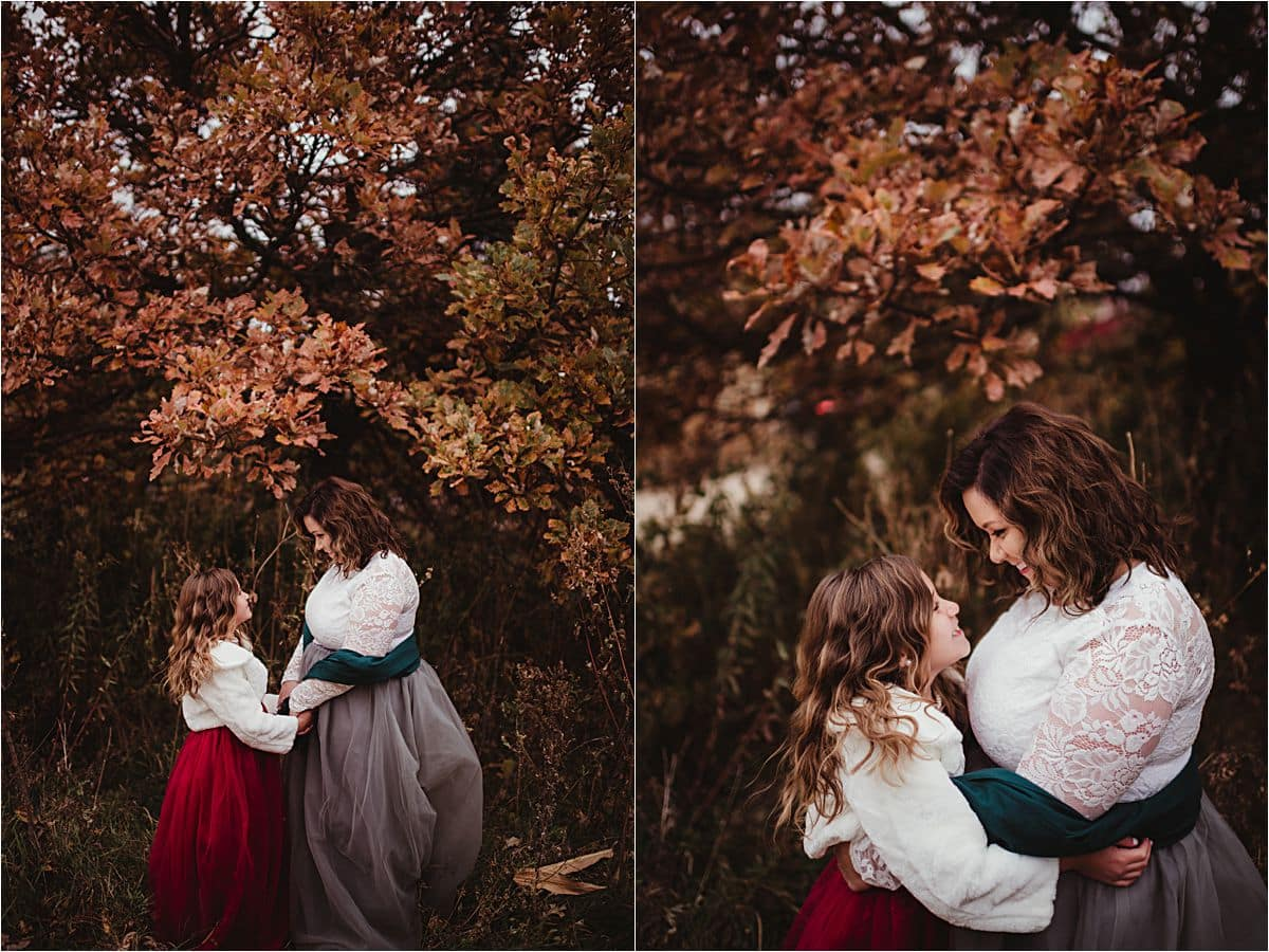 Fall Mother Daughter Session Holding Hands