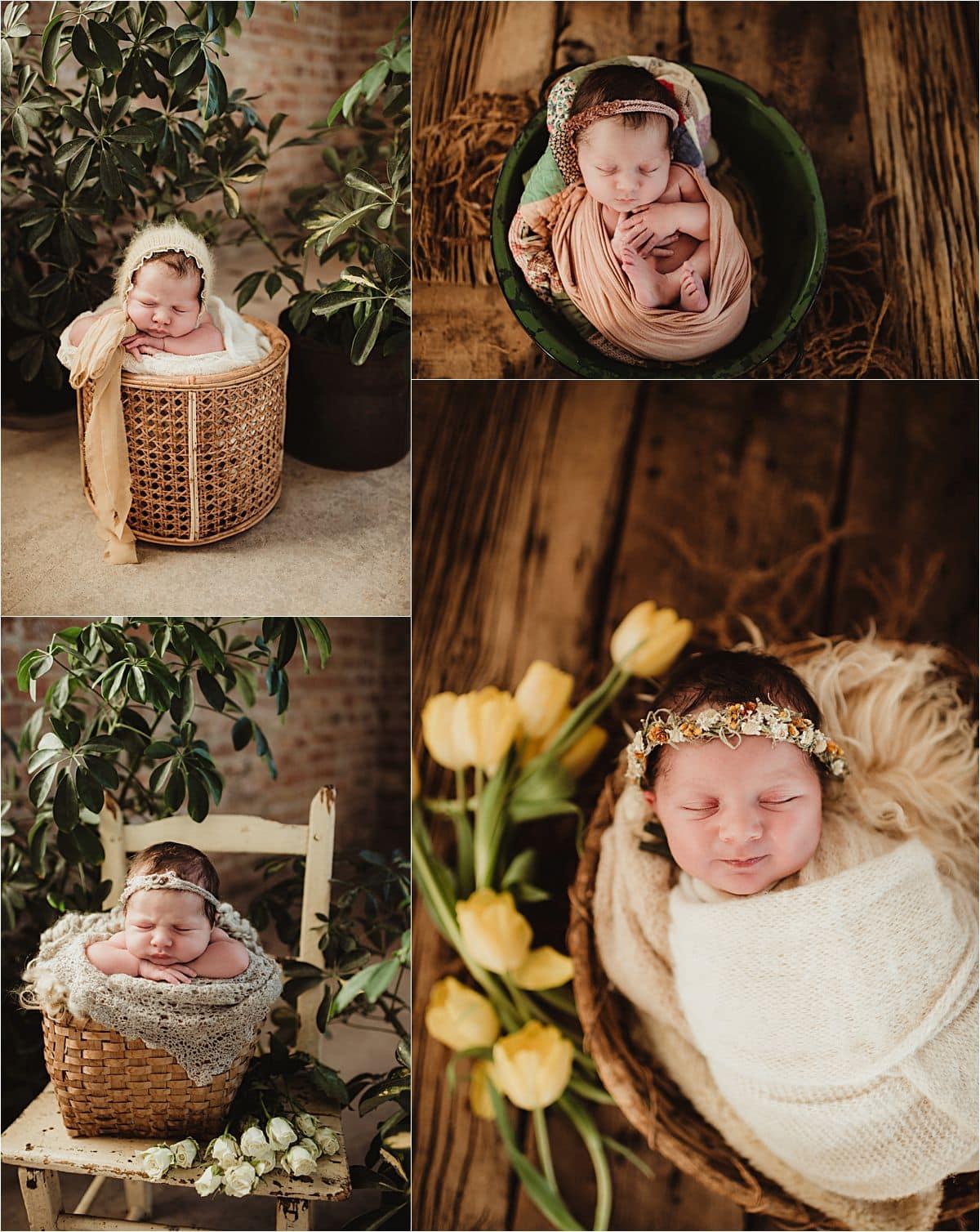 Newborn Girl with Plants