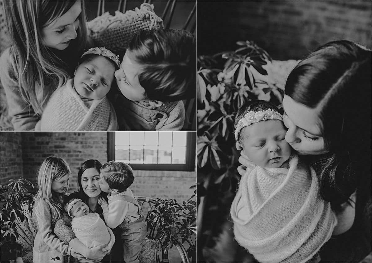 Botanically Inspired Newborn Session Black and White Images Family