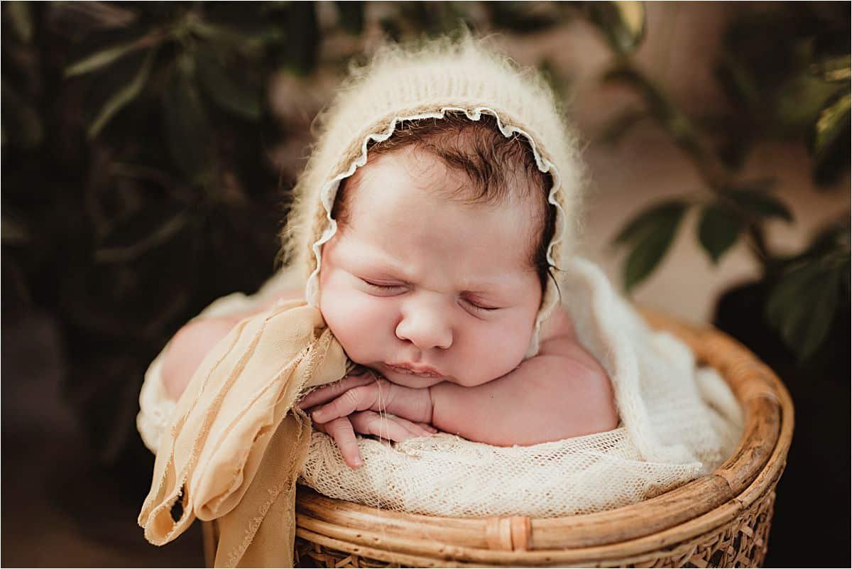 Newborn in Fuzzy Bonnet