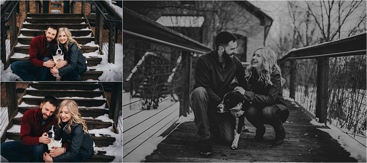 Snowy Winter Engagement Session Couple with Dog